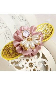 Lolita Kawaii Pink Flower with White Pearl Stamen Barrette