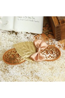 Lolita Lady Pink Bow Golden Leaf Barrette