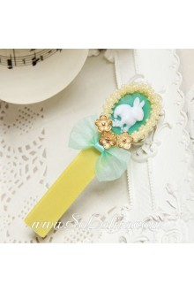Lolita Little Fresh Rabbit Beaded Edge Blue Bow Barrette