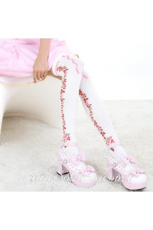Cute Sweety Pop White Roses Lolita Knee Stockings