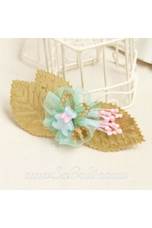 Lolita Sweet Teddy Bear Golden Leaves Vintage Barrette
