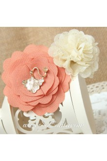 Lolita Pink and White Chiffon Flower Vintage Barrette