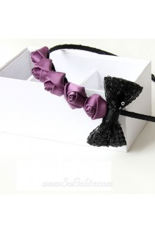 Lolita A Row of  Purple Rose and Black Bow Headband