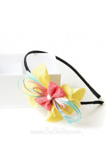 Lolita Sweet and Kawaii Yellow Petal Pink Bow Headband