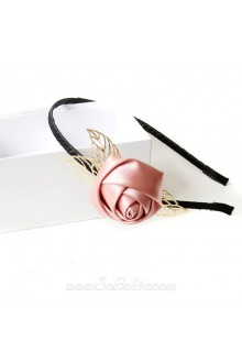 Lolita Pink Rose and Golden Leaves Headband