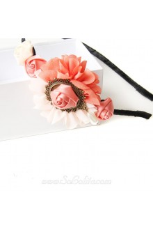Lolita A Row of Flowers Pink Lines Headband