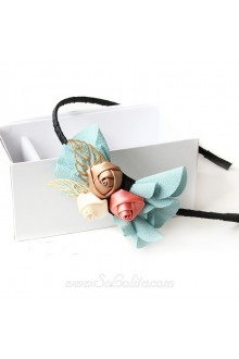 Lolita Lady Bow with Three Little Flowers Headband