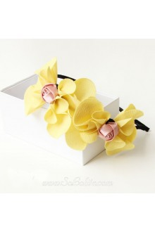 Lolita Yellow Bow Pink Rose Headband