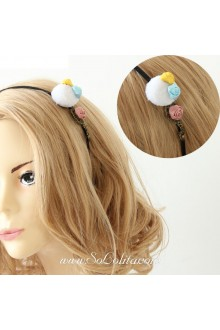 Lolita Kawaii White Furball and Three Roses Headband