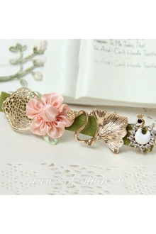 Lolita Little Pink Flower with White Swan Sweet Barrette