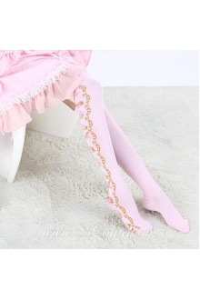 Cute Fashion Pop  Pink Jacquard Tea Sets Lolita Knee Stockings