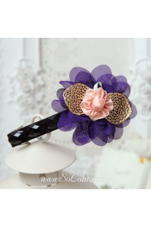 Lolita Lady Purple Petal Pink Flower Vintage Barrette