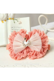 Lolita Kawaii Pink Bow with Swan Detailing Barrette