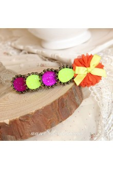 Lolita Lovely Bow Flower Fluorescent Color Gem Barrette