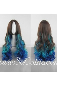 Lolita Wig Curl Sweet Brown Blue Mixed Color