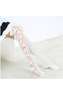 Cute Pop White Jacquard and Tea Sets Lolita Knee Stockings