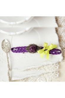 Lolita Purple Flower and Bright Yellow Bow Barrette