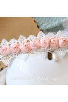 Lolita A Row of Pink Rose White Lace Hem Sweet Barrette