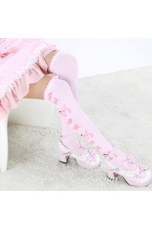 Cute Pop Pink Cartoon Jacquard Lolita Knee Stockings