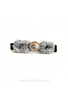 Lolita Button Detailing Grey Lace Bow Barrette