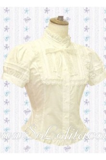 Lolita Lapel Collar Short Sleeves Cotton Blouse