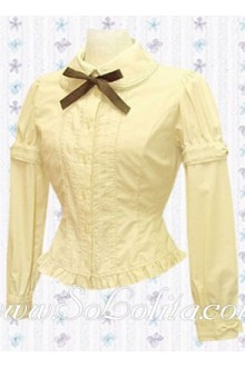 Lolita Long Sleeves Bowtie Cotton Blouse