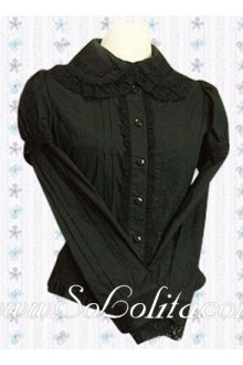 Lolita Black Long Sleeves Cotton Blouse