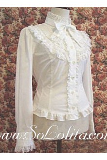 Lolita White Lace Trim Bowtie Cotton Blouse