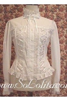 Lolita White Long Sleeves Stand Collar Cotton Blouse