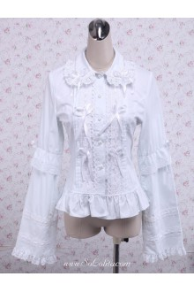 Lolita Lace Trim Ribbon Corset Cotton Blouse
