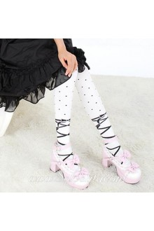 Cute Pop Personality White Stripes Dots Lolita Knee Stockings