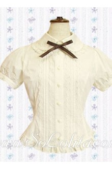 Lolita Bowtie Short Sleeves Cotton Blouse