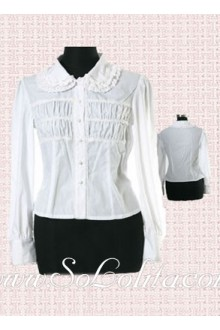 Lolita White Long Sleeves Pleated Cotton Blouse