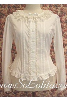 Lolita Long Sleeves Round Lace Collar Cotton Blouse