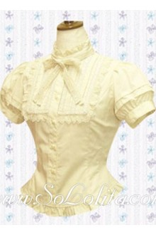 Lolita Bowtie Puff Sleeves Cotton Blouse