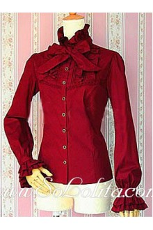 Lolita Red Bowtie Stand Collar Long Sleeves Blouse