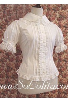 Lolita Ruffled Lace Trim White Cotton Blouse