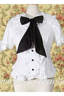 Lolita Black Bowtie White Ruffled Border Cotton Blouse