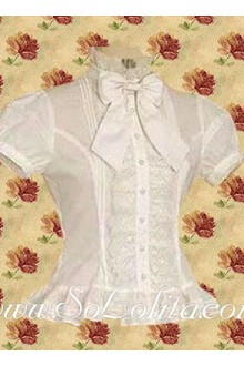 Lolita Puff Sleeves Bowtie White Cotton Blouse