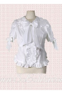 Lolita Bowtie Pleated Border White Cotton Blouse
