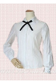 Lolita Long Sleeves Turndown Collar White Cotton Blouse