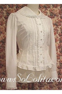 Lolita White Lace Trim Pleated Cotton Blouse