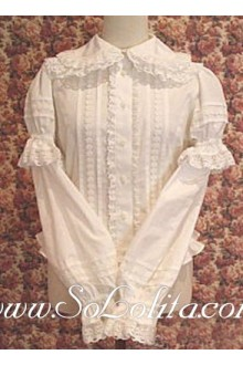Lolita Multilayer lace Trim White Pleated Cotton Blouse