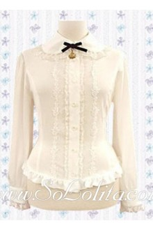 Lolita White Lace Border Collar Pleated Cotton Blouse