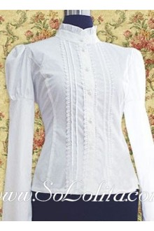 Lolita Long Sleeves Stand Collar White Cotton Blouse
