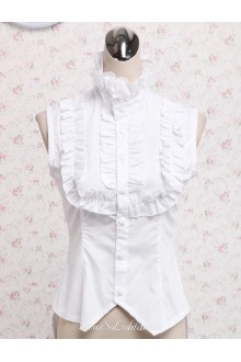 Lolita Sleeveless Pleated Hem Decoration White Cotton Blouse