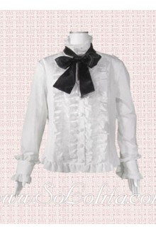 Lolita Bowtie Ruffled Hem Decoration White Cotton Blouse