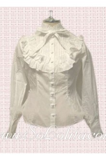 Lolita White Stand Collar Bowtie Cotton Blouse