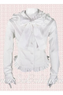 Lolita Long Sleeves Bowtie White Cotton Blouse