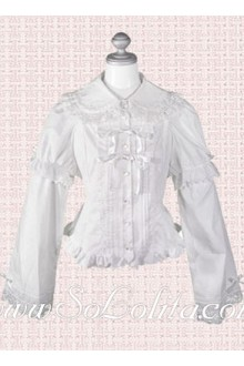 Lolita Lace Border White Pleated Cotton Blouse